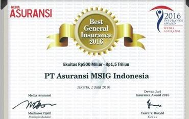 Awards Asuransi MSIG Indonesia dari Media Asuransi