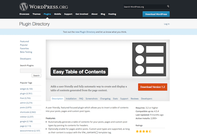 Easy Table Of Content Plugins WordPress