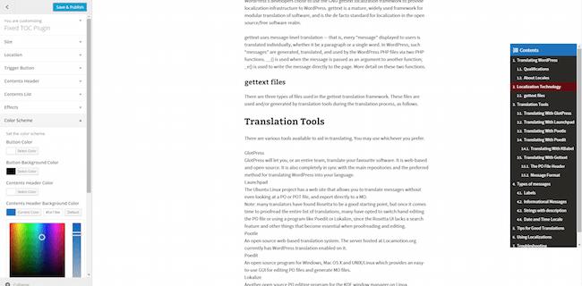 Fixed TOC Plugins WordPress