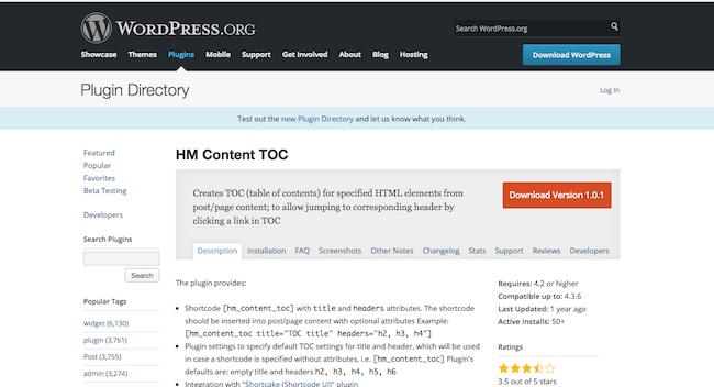 HM Content TOC