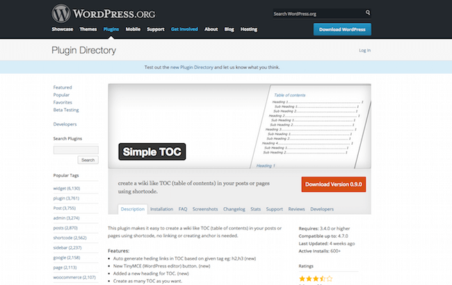 Simple TOC Plugins WordPress