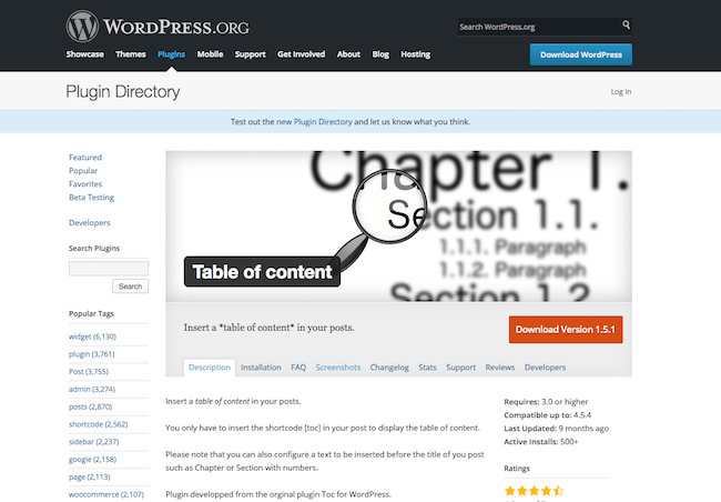 Table Of Content Plugins WordPress